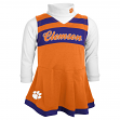 Clemson Tigers NCAA Toddler Girls Cheer Jumper Dress Set w/ Turtleneck