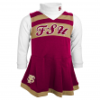 Florida State Seminoles NCAA Toddler Girls Cheer Jumper Dress Set w/ Turtleneck