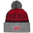 """Detroit Red Wings Mitchell & Ness NHL """"Snowflake"""" Retro Cuffed Knit Hat"""