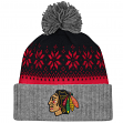 "Chicago Blackhawks Mitchell & Ness NHL ""Snowflake"" Current Logo Cuffed Knit Hat"