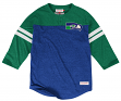 Seattle Seahawks Mitchell & Ness NFL Starting 3/4 Sleeve Tri-blend Henley Shirt