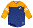 Los Angeles Rams Mitchell & Ness NFL Starting 3/4 Sleeve Tri-blend Henley Shirt