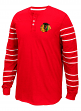 "Chicago Blackhawks CCM NHL ""Stripes"" Men's Long Sleeve Henley Shirt"