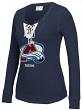 """Colorado Avalanche Women's NHL CCM """"Speckled"""" Lace Up Long Sleeve Henley Shirt"""