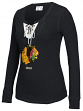 "Chicago Blackhawks Women's NHL CCM ""Speckled"" Lace Up Long Sleeve Henley Shirt"