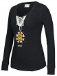 "Boston Bruins Women's NHL CCM ""Speckled"" Lace Up Long Sleeve Henley Shirt"