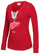 """Detroit Red Wings Women's NHL CCM """"Speckled"""" Lace Up Long Sleeve Henley Shirt"""