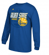 Golden State Warriors Adidas Distressed Back Logo Men's Long Sleeve Blue T-Shirt