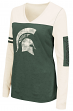 """Michigan State Spartans Women's NCAA """"Whatevs"""" Long Sleeve V-Neck T-Shirt"""