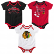 "Chicago Blackhawks NHL Reebok ""Hat Trick"" Infant 3 Pack Bodysuit Creeper Set"