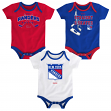 "New York Rangers NHL Reebok ""Hat Trick"" Infant 3 Pack Bodysuit Creeper Set"