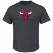 "Chicago Bulls Majestic NBA ""Supreme Logo"" Men's Short Sleeve T-Shirt - Charcoal"