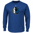 "Dallas Mavericks Majestic NBA ""Supreme Logo"" Men's Long Sleeve T-Shirt - Blue"