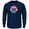 "Washington Wizards Majestic NBA ""Supreme Logo"" Men's Long Sleeve T-Shirt - Navy"