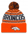 "Denver Broncos New Era NFL ""Wintry Pom"" Cuffed Knit Hat with Pom"