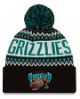 """Vancouver Grizzlies New Era NBA """"Historic Wintry Pom"""" Cuffed Knit Hat with Pom"""