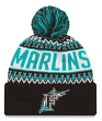 "Florida Marlins New Era MLB Cooperstown ""Wintry Pom"" Cuffed Knit Hat with Pom"