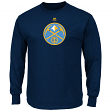 "Denver Nuggets Majestic NBA ""Supreme Logo"" Men's Long Sleeve T-Shirt - Navy"