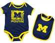 "Michigan Wolverines NCAA Infant ""Look at the Baby"" Onesie w/Bib Set"