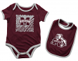 "Mississippi State Bulldogs NCAA Infant ""Look at the Baby"" Onesie w/Bib Set"
