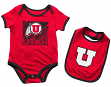 "Utah Utes NCAA Infant ""Look at the Baby"" Onesie w/Bib Set"