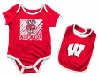 "Wisconsin Badgers NCAA Infant ""Look at the Baby"" Onesie w/Bib Set"