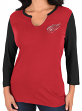 "Detroit Red Wings Women's NHL Majestic ""Glowing"" 3/4 Sleeve Notch Neck T-shirt"