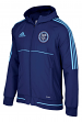 "New York City FC Adidas Men's MLS 2017 ""Travel"" Sideline Full Zip Hooded Jacket"