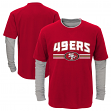 """San Francisco 49ers Youth NFL """"Bleachers"""" L/S Faux Layer Thermal Shirt"""