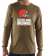 "Cleveland Browns Majestic NFL ""Critical Victory 3"" Men's L/S T-Shirt - Brown"