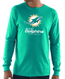 """Miami Dolphins Majestic NFL """"Critical Victory 3"""" Men's L/S T-Shirt - Teal"""