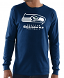 "Seattle Seahawks Majestic NFL ""Critical Victory 3"" Men's L/S T-Shirt - Navy"