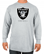"Oakland Raiders Majestic NFL ""Critical Victory 3"" Men's L/S T-Shirt - Gray"
