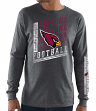 "Arizona Cardinals Majestic NFL ""Dual Threat"" Men's Long Sleeve Charcoal T-Shirt"