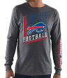 "Buffalo Bills Majestic NFL ""Dual Threat"" Men's Long Sleeve Charcoal T-Shirt"