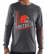 """Cleveland Browns Majestic NFL """"Dual Threat"""" Men's Long Sleeve Charcoal T-Shirt"""