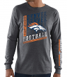 "Denver Broncos Majestic NFL ""Dual Threat"" Men's Long Sleeve Charcoal T-Shirt"
