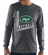 "New York Jets Majestic NFL ""Dual Threat"" Men's Long Sleeve Charcoal T-Shirt"