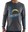 Los Angeles Chargers Majestic NFL Dual Threat Men's Long Sleeve Charcoal T-Shirt