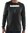 "Oakland Raiders Majestic NFL ""Elite Reflective"" Men's L/S Black T-Shirt"