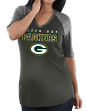 """Green Bay Packers Women's Majestic NFL """"My Team"""" 1/2 Sleeve V-neck Shirt"""
