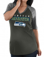 "Seattle Seahawks Women's Majestic NFL ""My Team"" 1/2 Sleeve V-neck Shirt"