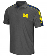 """Michigan Wolverines NCAA """"Southpaw"""" Men's Performance Polo Shirt - Charcoal"""