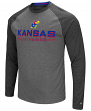 "Kansas Jayhawks NCAA ""Ultra"" Men's Long Sleeve Charcoal Raglan T-Shirt"