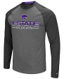 "Kansas State Wildcats NCAA ""Ultra"" Men's Long Sleeve Charcoal Raglan T-Shirt"