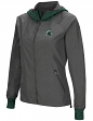 "Michigan State Spartans NCAA Women's ""Backside"" Full Zip Hooded Charcoal Jacket"