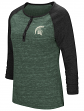 "Michigan State Spartans NCAA Women's ""Slopestyle"" 3/4 Sleeve Henley Shirt"