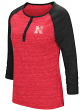 "Nebraska Cornhuskers NCAA Women's ""Slopestyle"" 3/4 Sleeve Henley Shirt"