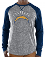 "Los Angeles Chargers Majestic NFL ""Full Out Blitz"" Long Sleeve Gray Slub Shirt"