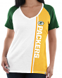 "Green Bay Packers Women's Majestic NFL ""Highlight"" V-neck Short Sleeve T-shirt"
